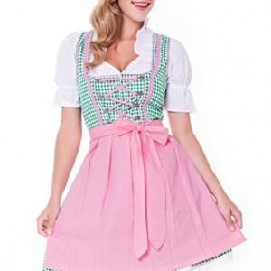 3-tlg-Dirndl-Set-Trachtenkleid-Bluse-Schrze-Gr3246-grn-rosa-ALM745-0