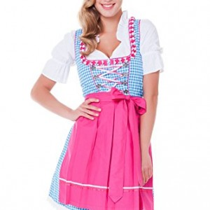 3tlg-Dirndl-Set-Trachtenkleid-Bluse-Schrze-Gr32-46-verschiedene-Farben-0
